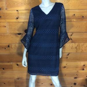 Alfani NWT Navy Blue Bell Sleeve Lace Shift Dress